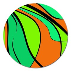 Green And Orange Magnet 5  (round)
