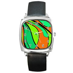 Green and orange Square Metal Watch