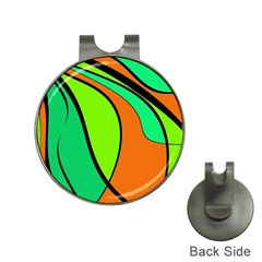 Green and orange Hat Clips with Golf Markers