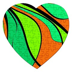 Green and orange Jigsaw Puzzle (Heart)