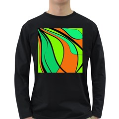 Green and orange Long Sleeve Dark T-Shirts