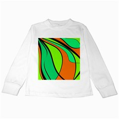 Green and orange Kids Long Sleeve T-Shirts
