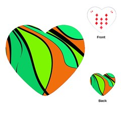 Green And Orange Playing Cards (heart)