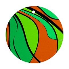Green and orange Round Ornament (Two Sides)