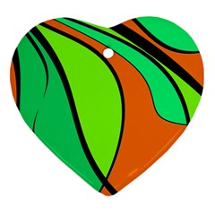 Green and orange Heart Ornament (2 Sides)