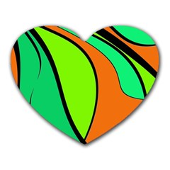 Green and orange Heart Mousepads