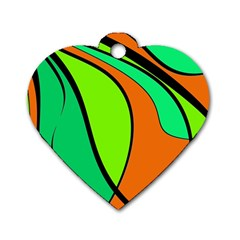 Green and orange Dog Tag Heart (Two Sides)