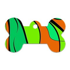 Green and orange Dog Tag Bone (One Side)