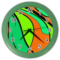 Green And Orange Color Wall Clocks