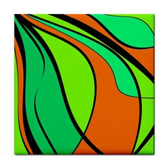 Green and orange Face Towel