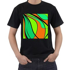 Green and orange Men s T-Shirt (Black)