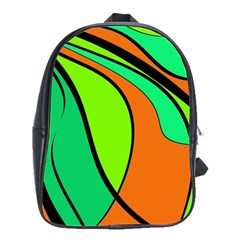 Green and orange School Bags(Large)