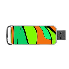 Green And Orange Portable Usb Flash (one Side)