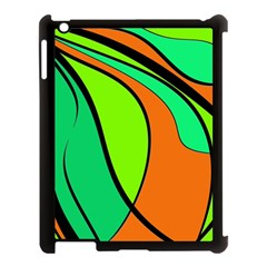 Green and orange Apple iPad 3/4 Case (Black)