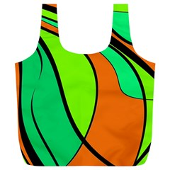 Green and orange Full Print Recycle Bags (L)