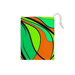 Green and orange Drawstring Pouches (Small)