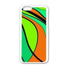 Green and orange Apple iPhone 6/6S White Enamel Case