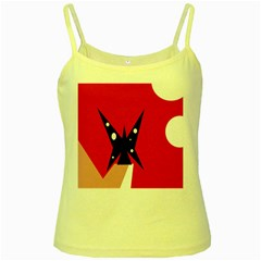 Black butterfly  Yellow Spaghetti Tank
