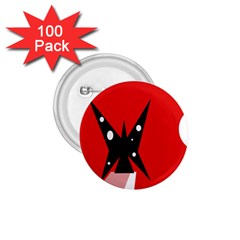 Black butterfly  1.75  Buttons (100 pack)