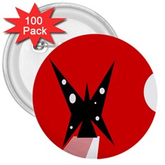 Black butterfly  3  Buttons (100 pack)