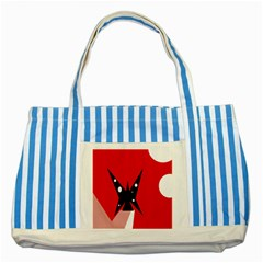 Black butterfly  Striped Blue Tote Bag