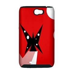 Black butterfly  Samsung Galaxy Note 2 Hardshell Case (PC+Silicone)