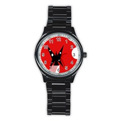Black butterfly  Stainless Steel Round Watch