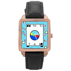 Washing machine  Rose Gold Leather Watch