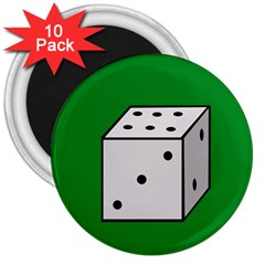 Dice  3  Magnets (10 Pack)