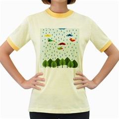 Birds in the rain Women s Fitted Ringer T-Shirts