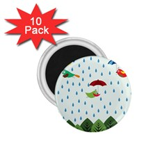 Birds in the rain 1.75  Magnets (10 pack)