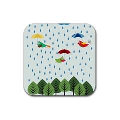 Birds in the rain Rubber Coaster (Square)