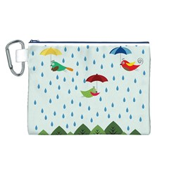 Birds in the rain Canvas Cosmetic Bag (L)