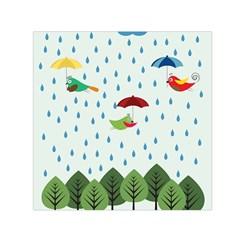 Birds in the rain Small Satin Scarf (Square)