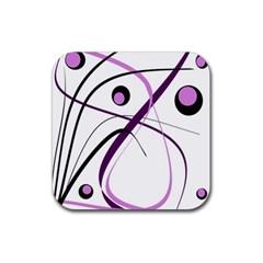 Pink Elegant Design Rubber Square Coaster (4 Pack)