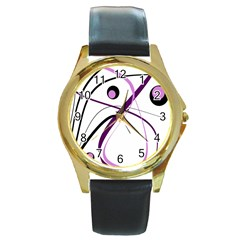 Pink elegant design Round Gold Metal Watch