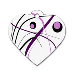 Pink Elegant Design Dog Tag Heart (one Side)