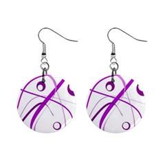 Purple elegant design Mini Button Earrings