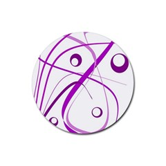 Purple elegant design Rubber Coaster (Round)