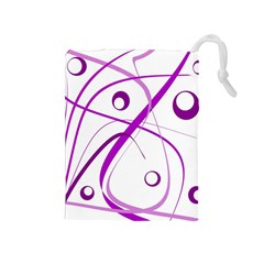 Purple elegant design Drawstring Pouches (Medium)