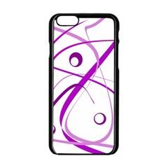 Purple elegant design Apple iPhone 6/6S Black Enamel Case