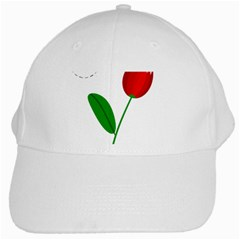 Red tulip and bee White Cap