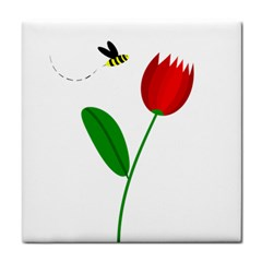 Red tulip and bee Tile Coasters