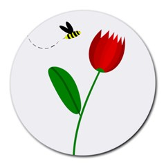 Red tulip and bee Round Mousepads