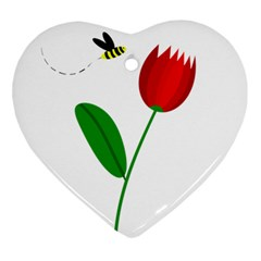 Red tulip and bee Ornament (Heart)