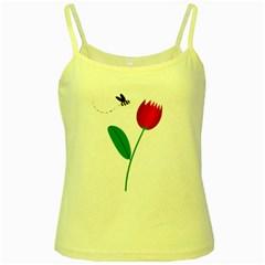 Red tulip and bee Yellow Spaghetti Tank