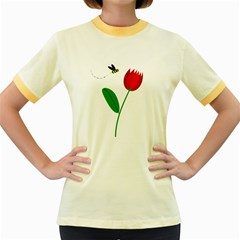 Red tulip and bee Women s Fitted Ringer T-Shirts