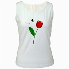 Red tulip and bee Women s White Tank Top
