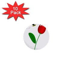 Red tulip and bee 1  Mini Buttons (10 pack)