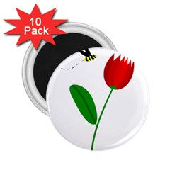 Red tulip and bee 2.25  Magnets (10 pack)